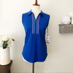 Jofit collared golf tank embroidered blue pink XS